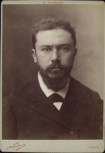 Gustave Geffroy (1855-1926) in a portrait photograph by Nadar.