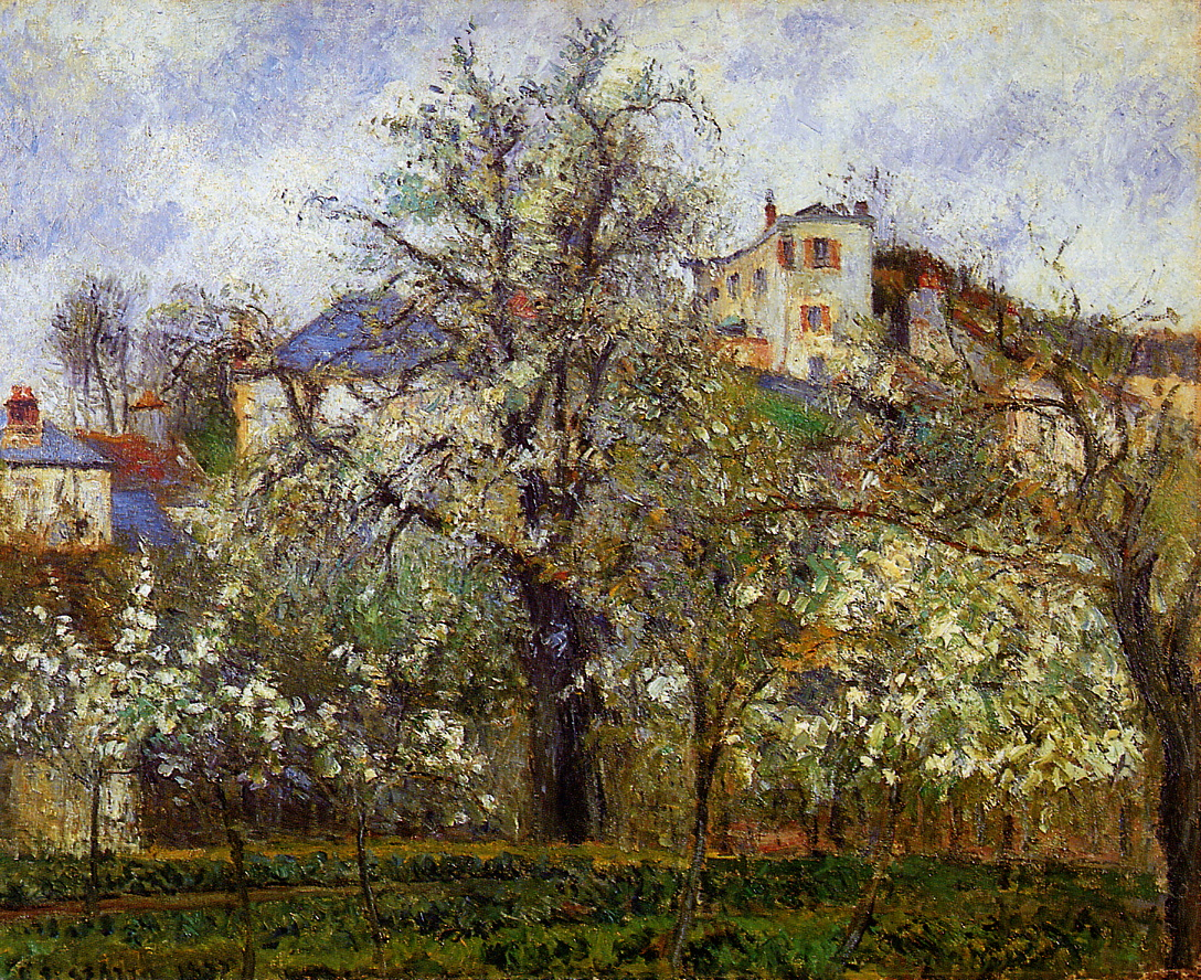 the-vegetable-garden-with-trees-in-blossom-spring-pontoise-by-camille-pissarro-1877