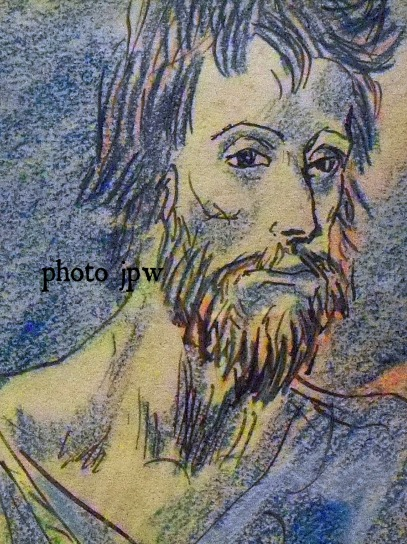 beggar-with-crutch-barcelona-1904 pen-brown-ink-and-colored-crayon-on-paper-detail