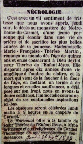 Saint Thérèse of Lisieux's obituary was printed in