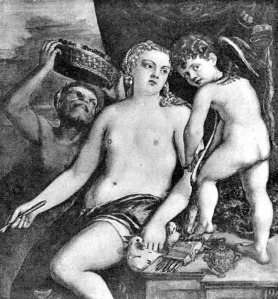 "Rome, Galleria Borghese: Venus and Cupid with Satyr Carrying a Basket with Fruit,"" attributed to Paolo Veronese."