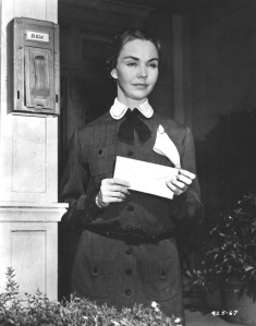 Jennifer Jones was 35 years old when by the magic of make-up was transformed into the strict, stern elderly Miss Dove.