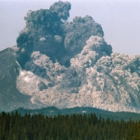 The amazing natural event of the eruption of Mount St. Helens, May 18, 1980. (40 photographs).