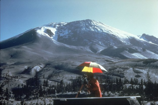 April-1980-a-bulge-develops-on-the-north-side-of-Mount-St_-Helens-as-magma-pushed-up-within-the-peak-pushed 450 feet bby may 18 Photo #20 by Peter Lipman