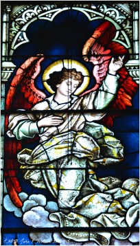 ASCENSION WINDOW (side panel/detail), 1902, St. Michael Church, Chicago. Franz Mayer & Company, Munich, Germany.