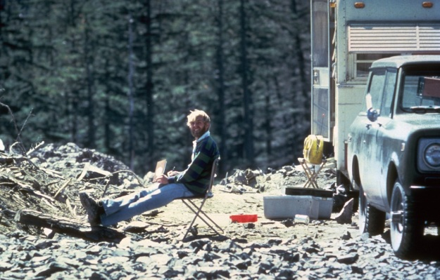 In this May 17, 1980 photo, 30-year old vulcanologist David Johnston is shown in the evening at his camp near what is now known as Johnston Ridge near Mount St. Helens.