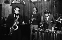 The year 1966: tenor saxophonist Gato Barbieri, trumpeter Don Cherry, jazz vibraphonist Karl Berger (German, b. 1935) and bassist Bo Stief (Danish, b. 1946). Barbieri and Cherry recorded two albums for Blue Note - Complete Communion and Symphony For Improvisors - in the mid1960s, Gato recorded with jazz saxophonist and composer Steve Lacy (1934-2004) and South African pianist Abdullah Ibrahim (b. 1934). Barbieri's free jazz included playing with American jazz double bass player Charlie Haden (1937-2014), American jazz pianist Carla Bley (B. 1936), among others. He jammed with jazz bassist Stanley Clarke (b. 1951), Brazilian jazz drummer and percussionist Airto Moreira (b. 1941), Cuban composer Chico O'Farrill (1921-2001) and American jazz musician Lonnie Liston Smith (b.1940).