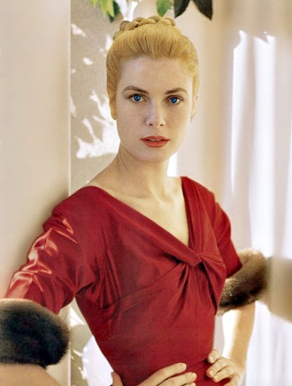 Grace Kelly in red by Howell Conant, 1955.