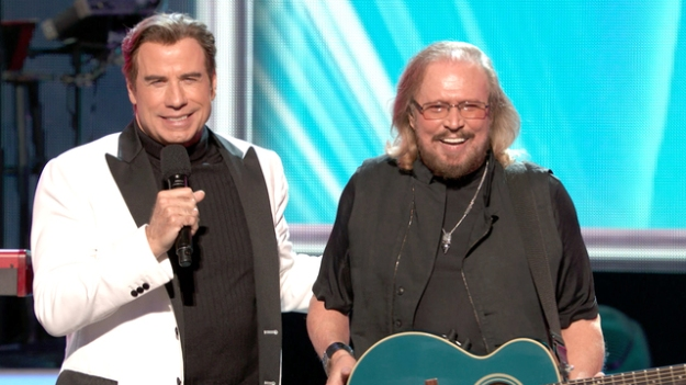 John Travolta and Barry Gibb Bee Gees Tribute Grammys 2017.