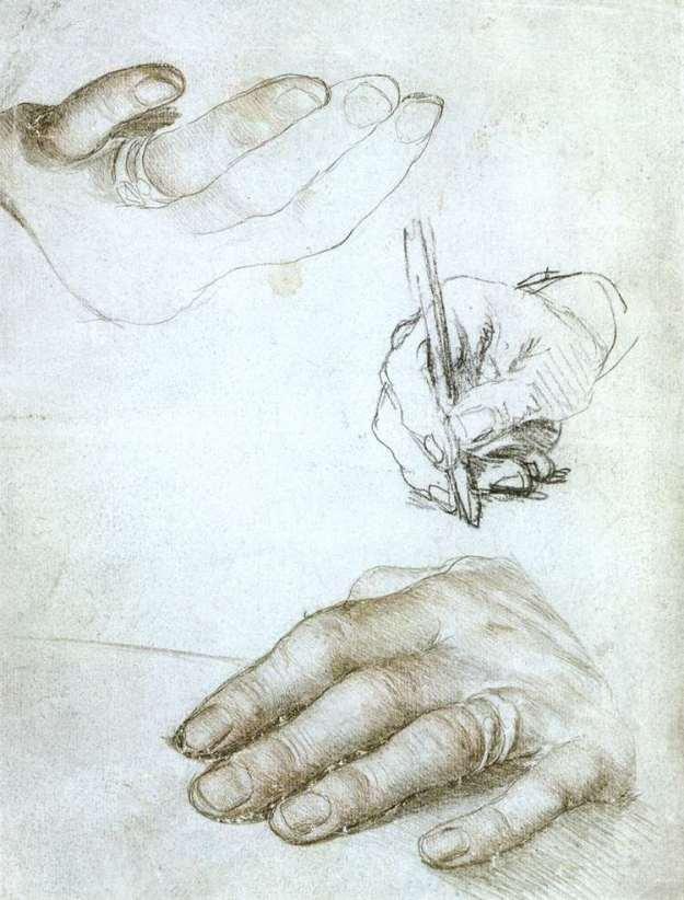 Holbein Erasmus Hands 1523 Louvre