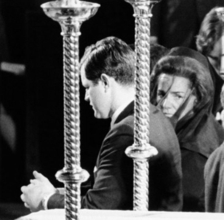 Ted Kennedy and Ethel Kennedy at Bobby Kennedy's funeral