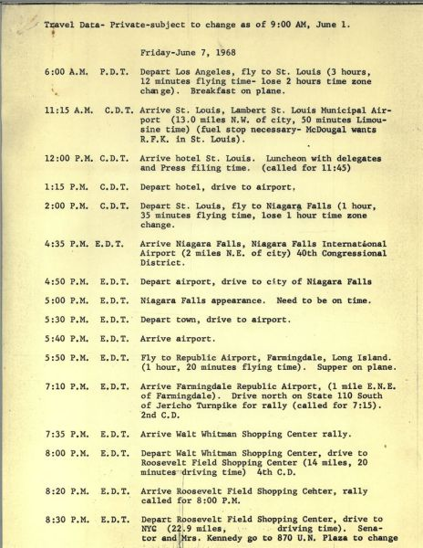 kennedy campiagn itinerary