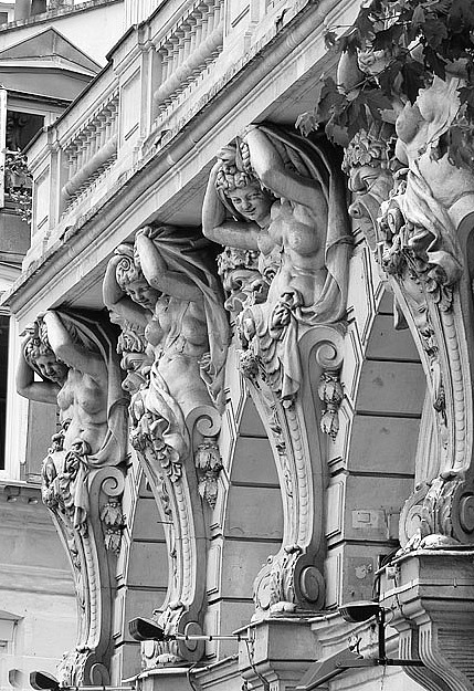 Detail facade above entrance theatre de la Renaissance