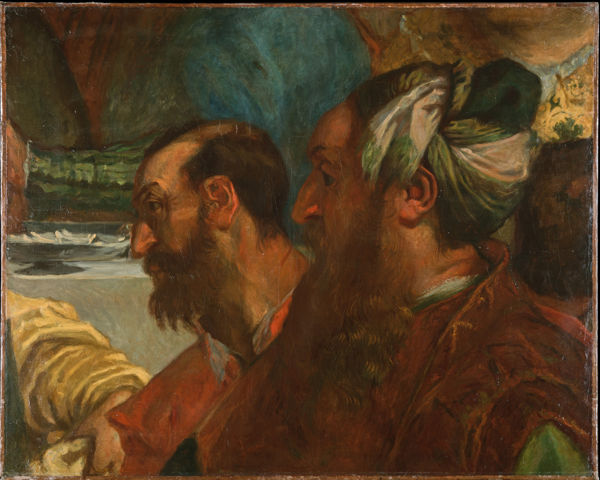 Two Bearded Heads after Veronese from The Marriage at Cana delacroix 1820